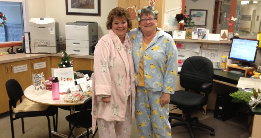 Mrs. Wiersma & Mrs. Anderson on Pajama Day